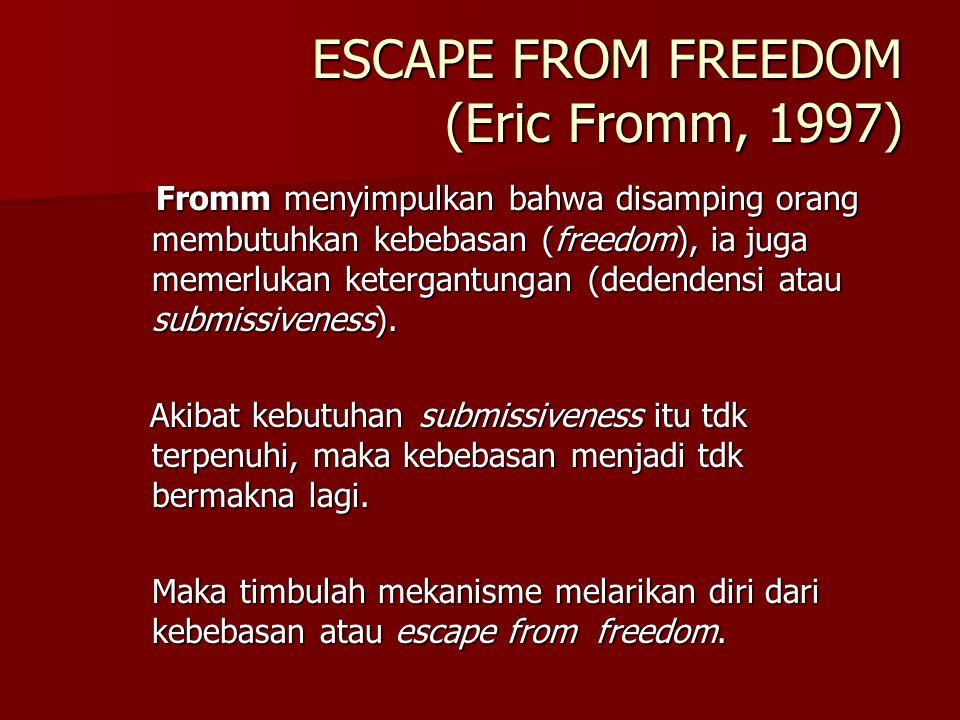 BAGAIMANA AKIBATNYA? Seperti pada level individu, kebebasan atau putusnya tali-tali itu disertai pula dengan: Seperti pada level individu, kebebasan a