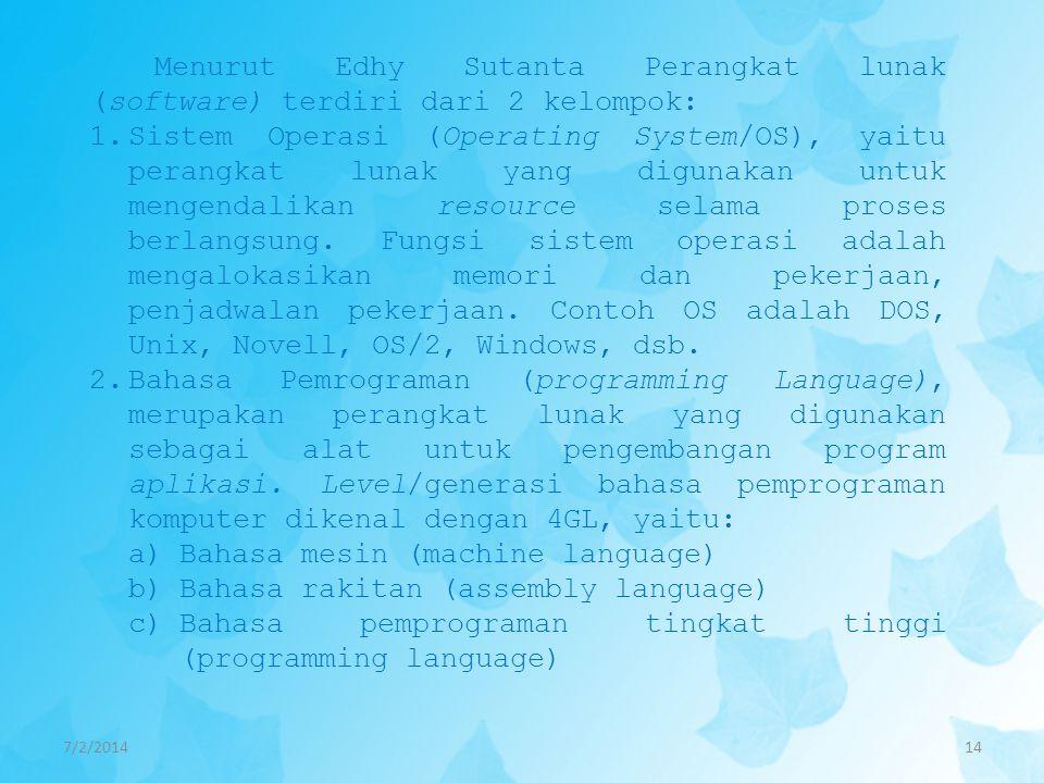 7/2/201414 Menurut Edhy Sutanta Perangkat lunak (software) terdiri dari 2 kelompok: 1.Sistem Operasi (Operating System/OS), yaitu perangkat lunak yang