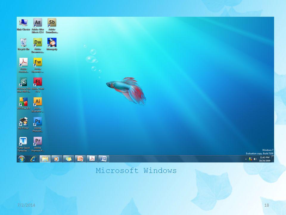 7/2/201418 Microsoft Windows