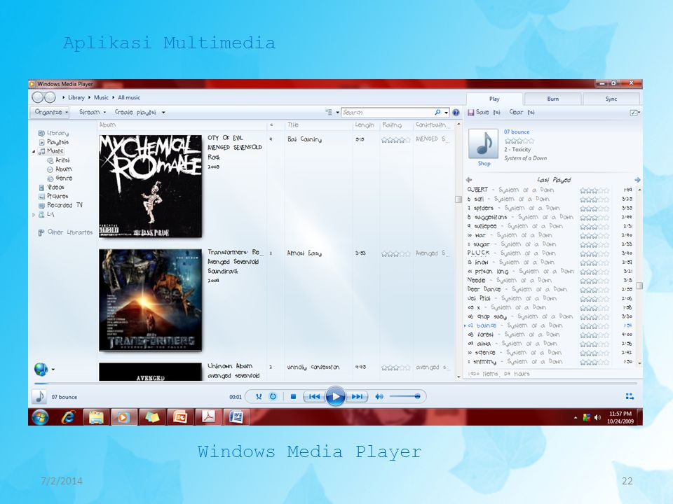 7/2/201422 Aplikasi Multimedia Windows Media Player