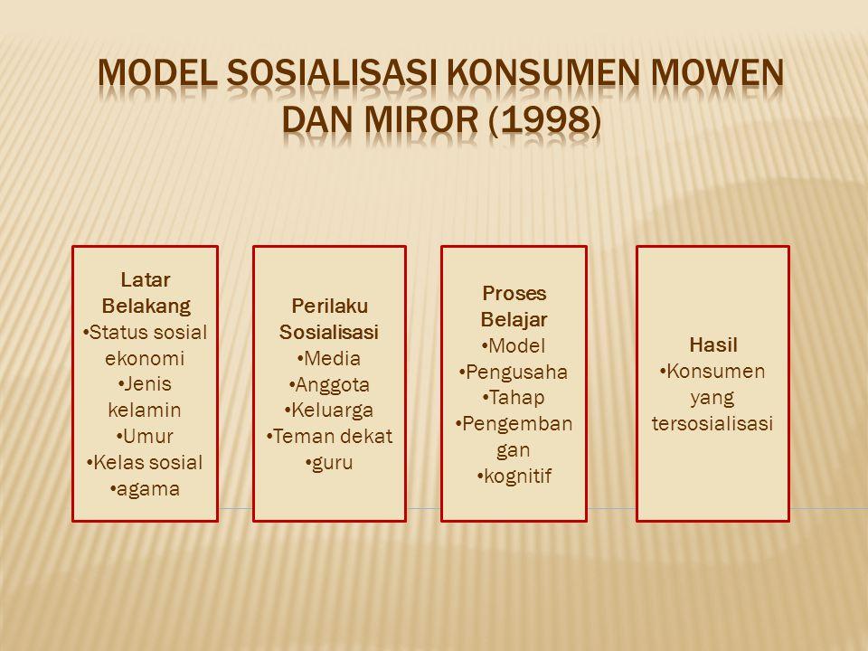 • Faktor latar belakang, karakteristik konsumen seperti status sosial, ekonomi, usia, kelas sosial dan agama. • Yang melakukan sosialisasi adalah sese