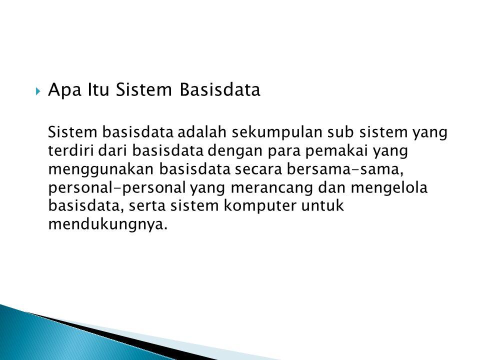  Apa Itu Sistem Basisdata Sistem basisdata adalah sekumpulan sub sistem yang terdiri dari basisdata dengan para pemakai yang menggunakan basisdata se