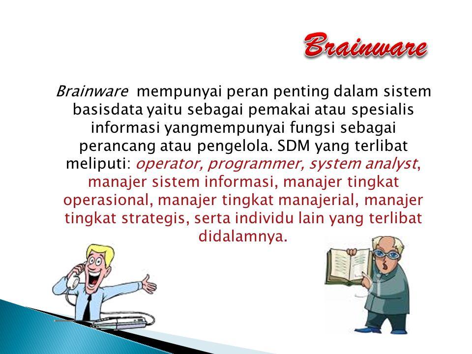 Brainware mempunyai peran penting dalam sistem basisdata yaitu sebagai pemakai atau spesialis informasi yangmempunyai fungsi sebagai perancang atau pe