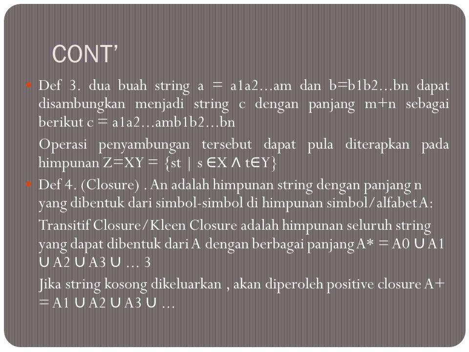 CONT'  Def 3. dua buah string a = a1a2...am dan b=b1b2...bn dapat disambungkan menjadi string c dengan panjang m+n sebagai berikut c = a1a2...amb1b2.