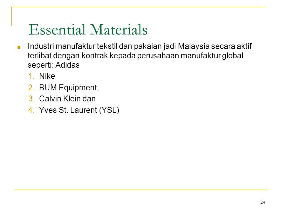 24 Essential Materials  Industri manufaktur tekstil dan pakaian jadi Malaysia secara aktif terlibat dengan kontrak kepada perusahaan manufaktur global seperti: Adidas 1.Nike 2.BUM Equipment, 3.Calvin Klein dan 4.Yves St.