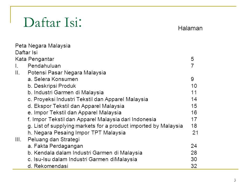 3 Daftar Isi : Peta Negara Malaysia Daftar Isi Kata Pengantar5 I.Pendahuluan7 II.Potensi Pasar Negara Malaysia a.
