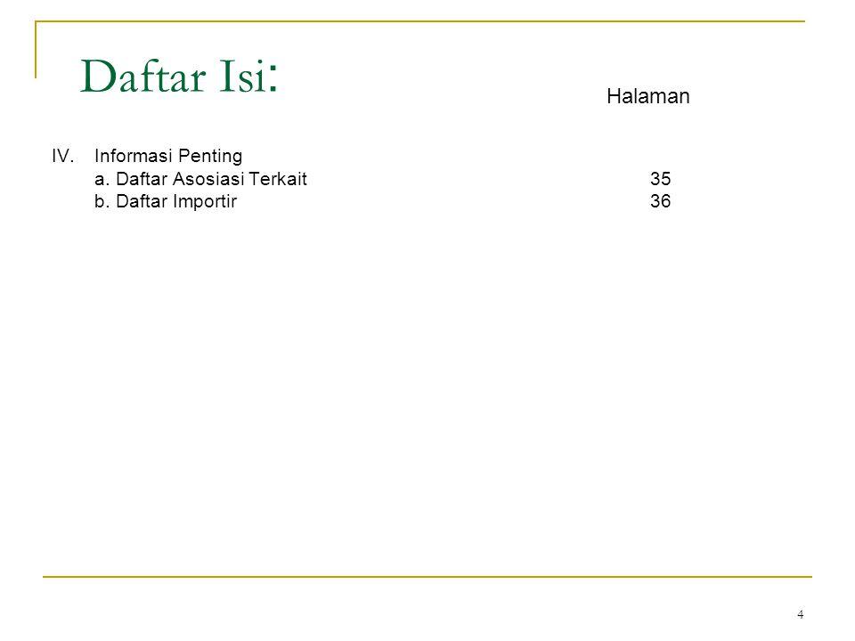 4 Daftar Isi : IV.Informasi Penting a. Daftar Asosiasi Terkait35 b. Daftar Importir36 Halaman