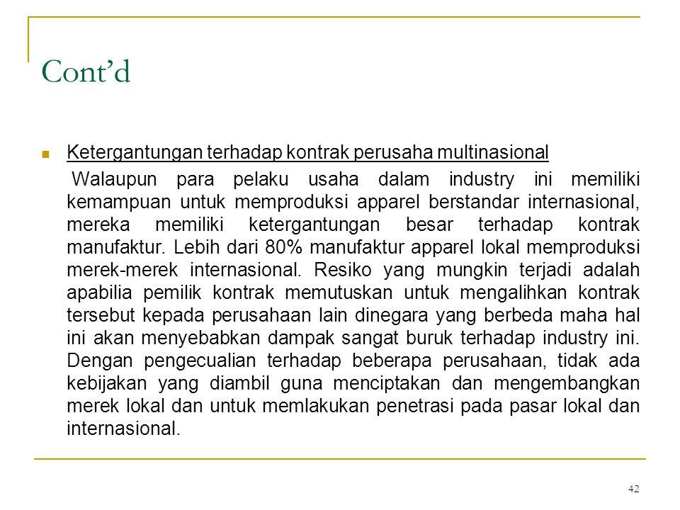 42 Cont'd  Ketergantungan terhadap kontrak perusaha multinasional Walaupun para pelaku usaha dalam industry ini memiliki kemampuan untuk memproduksi apparel berstandar internasional, mereka memiliki ketergantungan besar terhadap kontrak manufaktur.