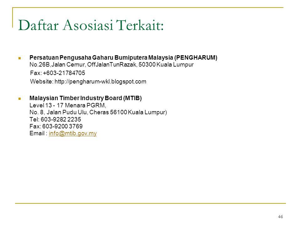 46 Daftar Asosiasi Terkait:  Persatuan Pengusaha Gaharu Bumiputera Malaysia (PENGHARUM) No.26B,Jalan Cemur, OffJalanTunRazak, 50300 Kuala Lumpur Fax: +603-21784705 Website: http://pengharum-wkl.blogspot.com  Malaysian Timber Industry Board (MTIB) Level 13 - 17 Menara PGRM, No.