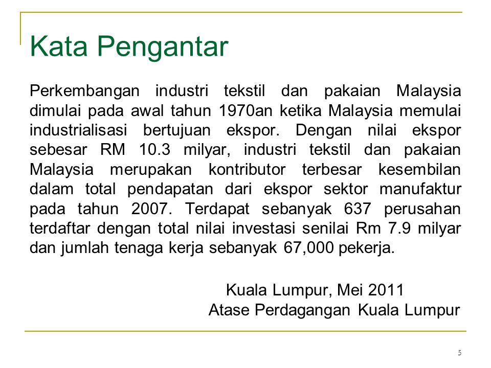 36 Cont'd  Ekspor produk garmen asal Indonesia ke Malaysia pada tahun 2010 adalah sebesar RM 56,069,417, suatu kenaikan sebesar 0.073% dari total ekspor produk garmen Indonesia pada tahun 2006 sebesar RM 52,219,692  Pasar yang mencatatkan peningkatan yang signifikan selama tahun 2009:- 1.Egypt (bernilai sebesar RM 274.3 juta ; peningkatan sebesar 53.6%) 2.Brazil (bernilai sebesar RM 176.3 juta ; peningkatan sebesar 36.1%) 3.Pakistan (bernilai sebesar RM 155.8 juta ; peningkatan sebesar 40.2%)