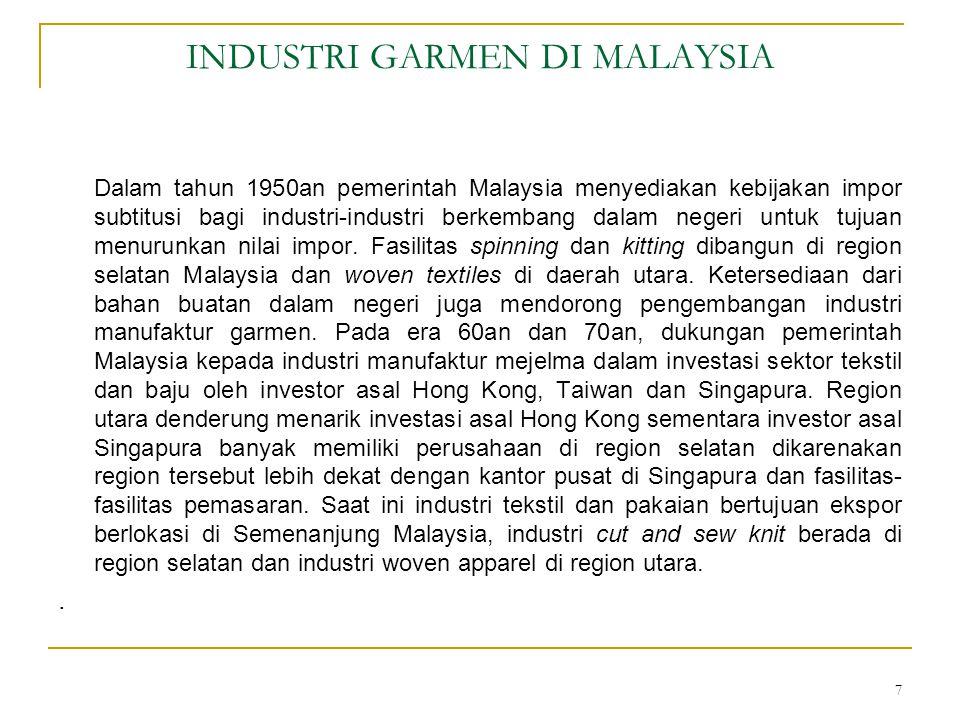 INDUSTRI GARMEN DI MALAYSIA Dalam tahun 1950an pemerintah Malaysia menyediakan kebijakan impor subtitusi bagi industri-industri berkembang dalam negeri untuk tujuan menurunkan nilai impor.