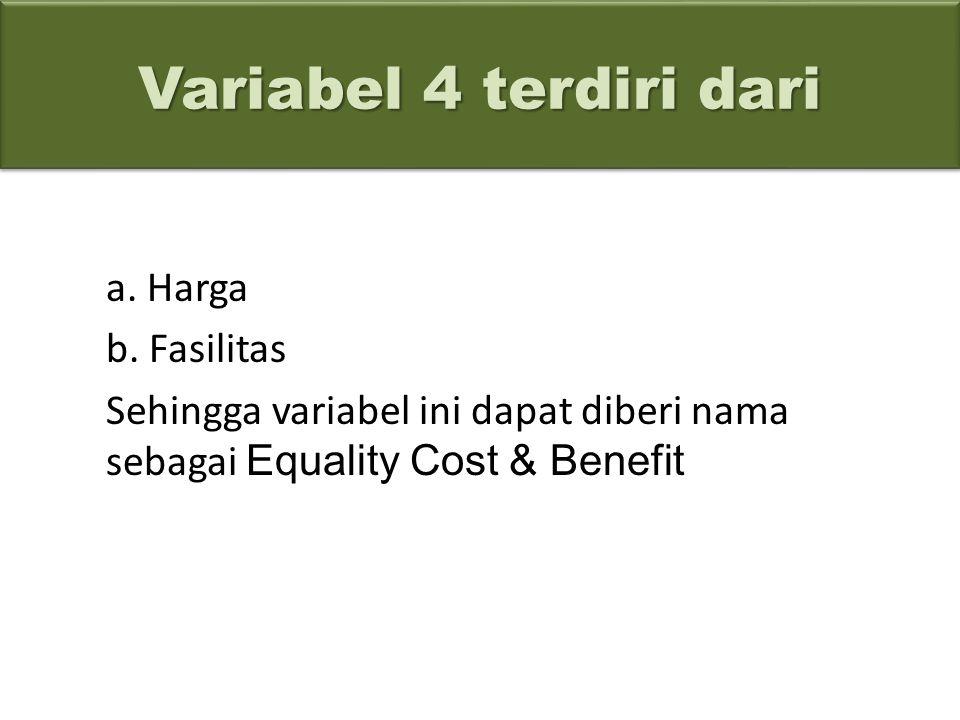 Variabel 4 terdiri dari a. Harga b. Fasilitas Sehingga variabel ini dapat diberi nama sebagai Equality Cost & Benefit Variabel 4 terdiri dari