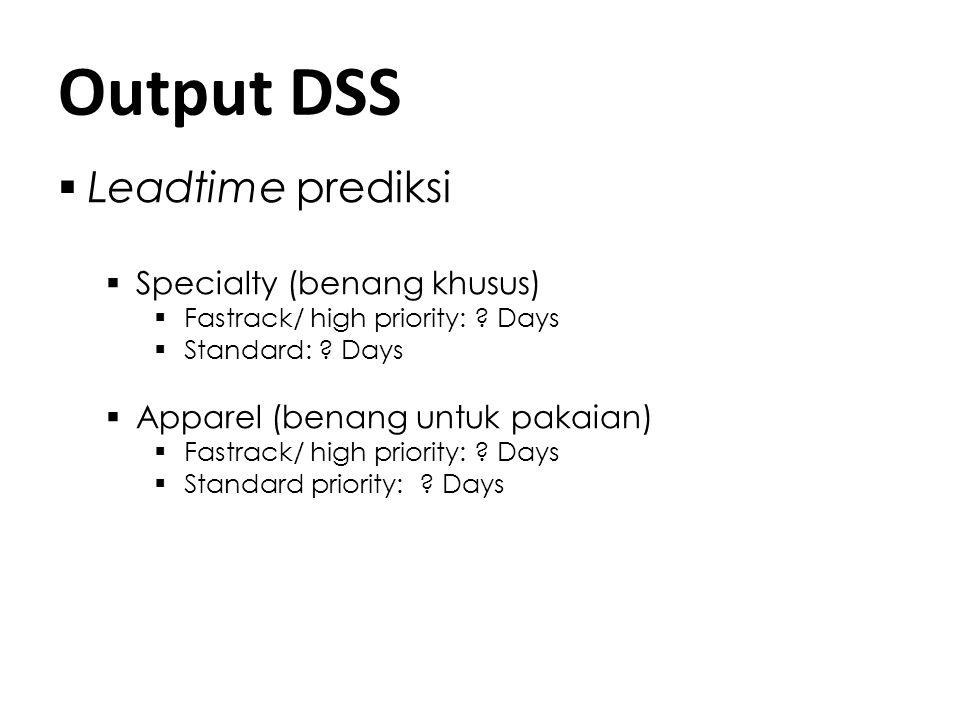 Output DSS  Leadtime prediksi  Specialty (benang khusus)  Fastrack/ high priority: ? Days  Standard: ? Days  Apparel (benang untuk pakaian)  Fas
