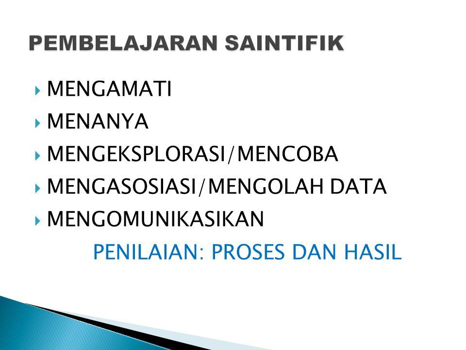  MENGAMATI  MENANYA  MENGEKSPLORASI/MENCOBA  MENGASOSIASI/MENGOLAH DATA  MENGOMUNIKASIKAN PENILAIAN: PROSES DAN HASIL