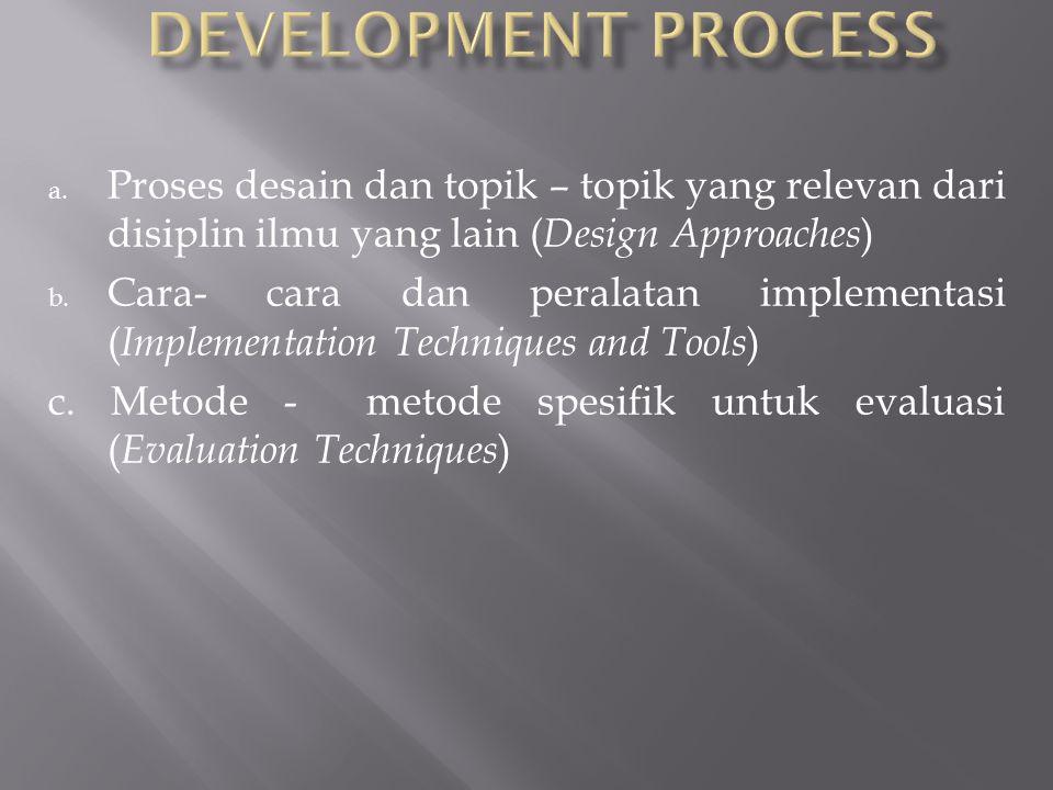 a. Proses desain dan topik – topik yang relevan dari disiplin ilmu yang lain ( Design Approaches ) b. Cara- cara dan peralatan implementasi ( Implemen