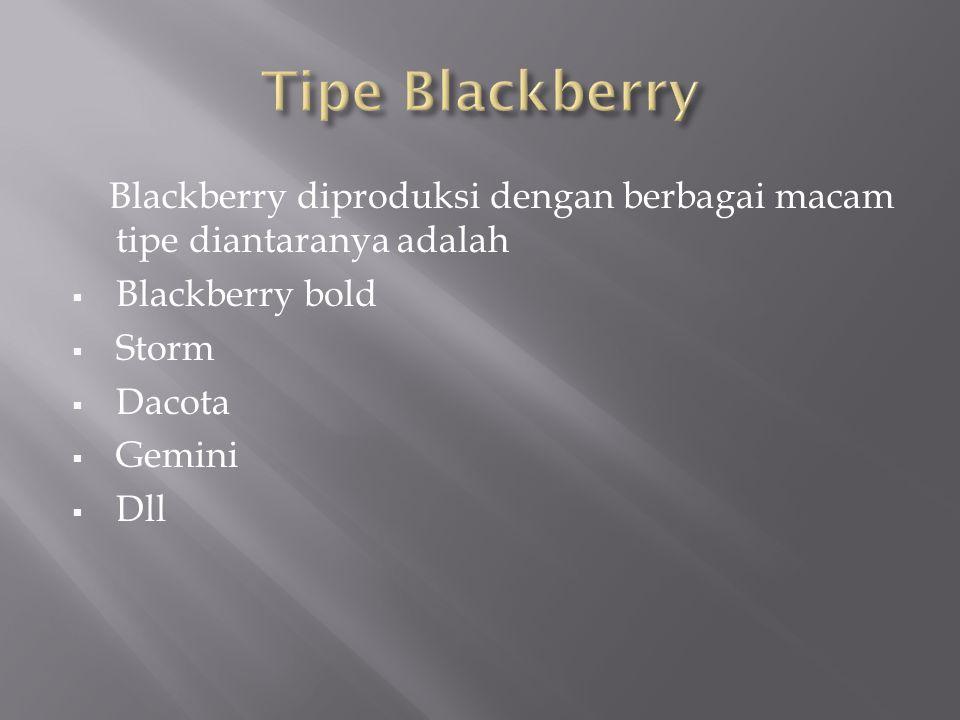Blackberry diproduksi dengan berbagai macam tipe diantaranya adalah  Blackberry bold  Storm  Dacota  Gemini  Dll