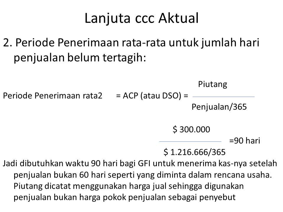 Lanjuta ccc Aktual 2. Periode Penerimaan rata-rata untuk jumlah hari penjualan belum tertagih: Piutang Periode Penerimaan rata2= ACP (atau DSO) = Penj