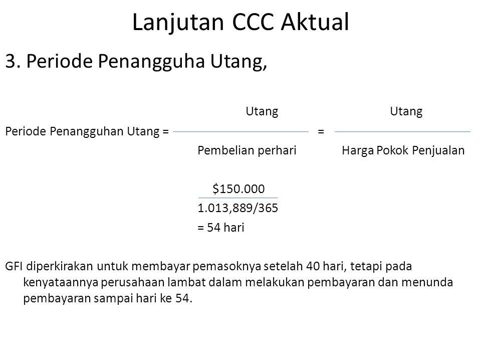 Lanjutan CCC Aktual 3. Periode Penangguha Utang,Utang Periode Penangguhan Utang = = Pembelian perhariHarga Pokok Penjualan $150.000 1.013,889/365 = 54
