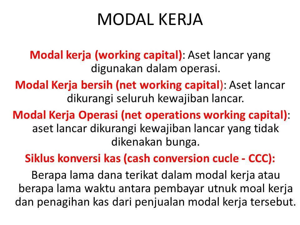MODAL KERJA Modal kerja (working capital): Aset lancar yang digunakan dalam operasi. Modal Kerja bersih (net working capital): Aset lancar dikurangi s