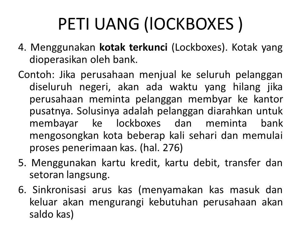 PETI UANG (lOCKBOXES ) 4. Menggunakan kotak terkunci (Lockboxes). Kotak yang dioperasikan oleh bank. Contoh: Jika perusahaan menjual ke seluruh pelang