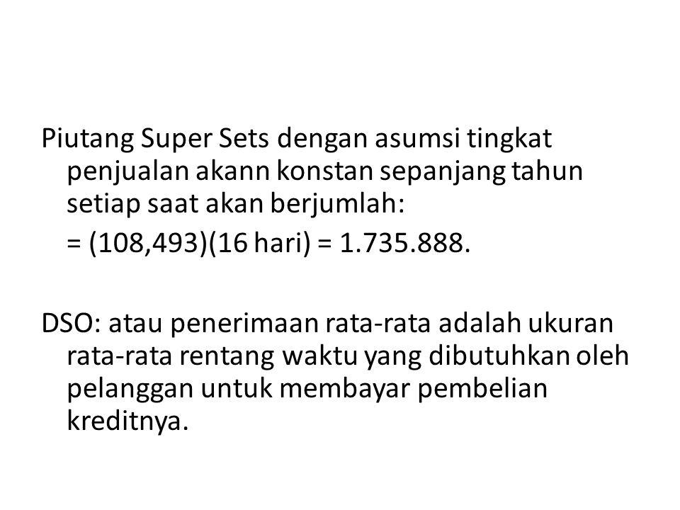 Piutang Super Sets dengan asumsi tingkat penjualan akann konstan sepanjang tahun setiap saat akan berjumlah: = (108,493)(16 hari) = 1.735.888. DSO: at