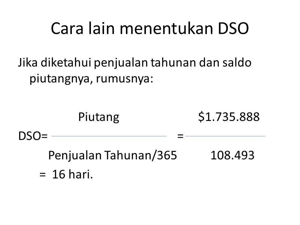 Cara lain menentukan DSO Jika diketahui penjualan tahunan dan saldo piutangnya, rumusnya: Piutang$1.735.888 DSO= = Penjualan Tahunan/365 108.493 = 16