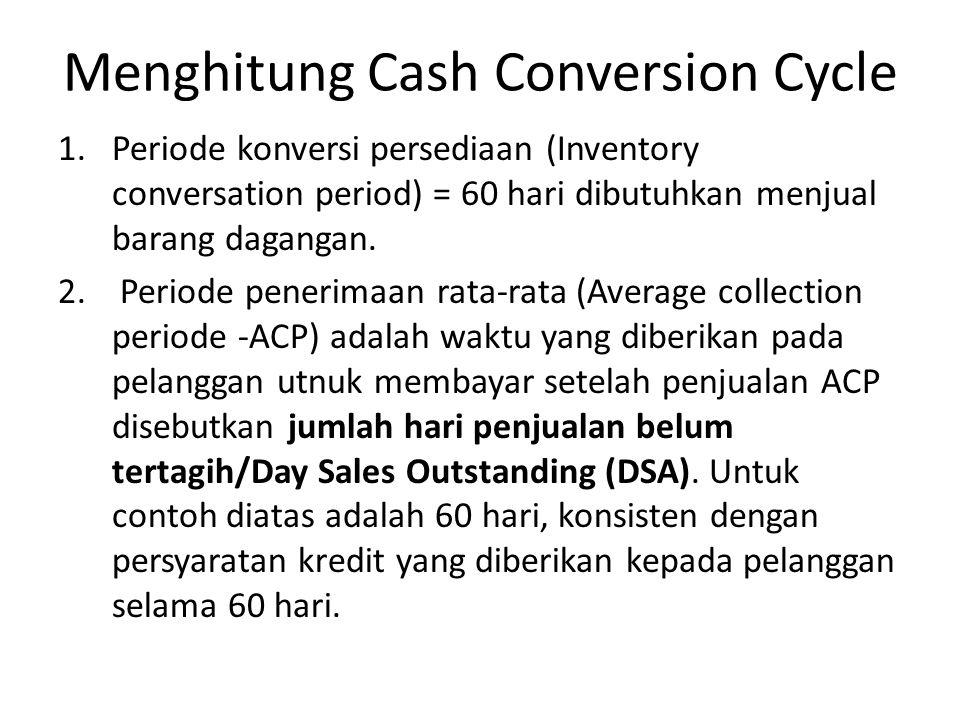 Menghitung Cash Conversion Cycle 1.Periode konversi persediaan (Inventory conversation period) = 60 hari dibutuhkan menjual barang dagangan. 2. Period