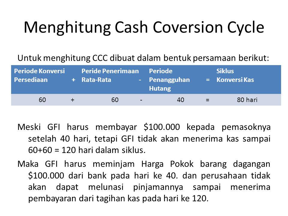 Menghitung Cash Coversion Cycle Untuk menghitung CCC dibuat dalam bentuk persamaan berikut: Meski GFI harus membayar $100.000 kepada pemasoknya setela
