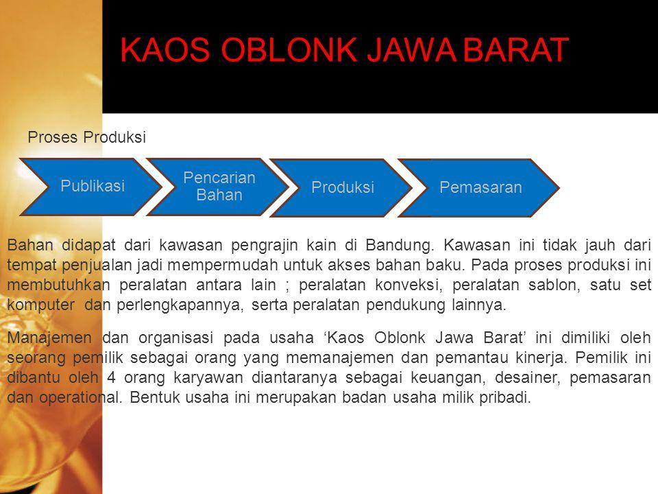 KAOS OBLONK JAWA BARAT Pemasaran Proses Produksi Bahan didapat dari kawasan pengrajin kain di Bandung. Kawasan ini tidak jauh dari tempat penjualan ja