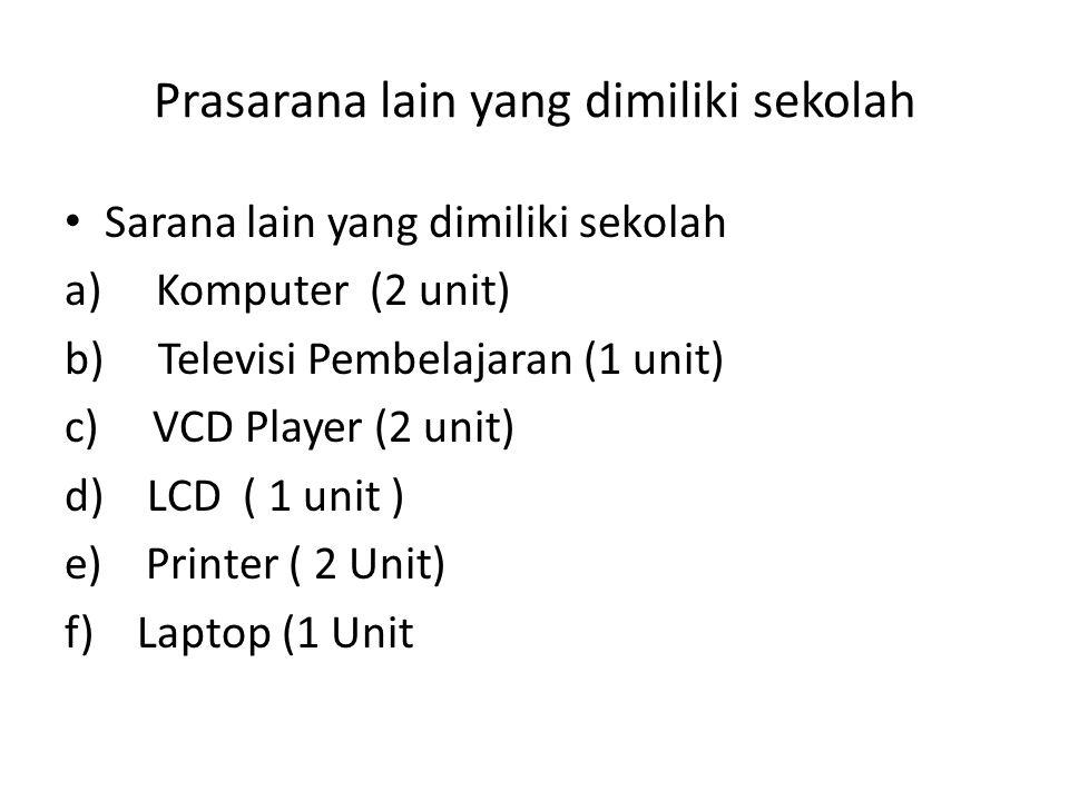 Prasarana lain yang dimiliki sekolah • Sarana lain yang dimiliki sekolah a) Komputer (2 unit) b) Televisi Pembelajaran (1 unit) c) VCD Player (2 unit)