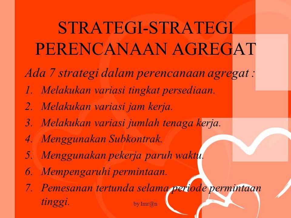STRATEGI-STRATEGI PERENCANAAN AGREGAT Ada 7 strategi dalam perencanaan agregat : 1.Melakukan variasi tingkat persediaan.