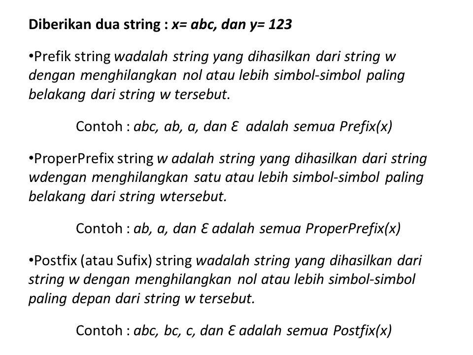 Diberikan dua string : x= abc, dan y= 123 • Prefik string wadalah string yang dihasilkan dari string w dengan menghilangkan nol atau lebih simbol-simb