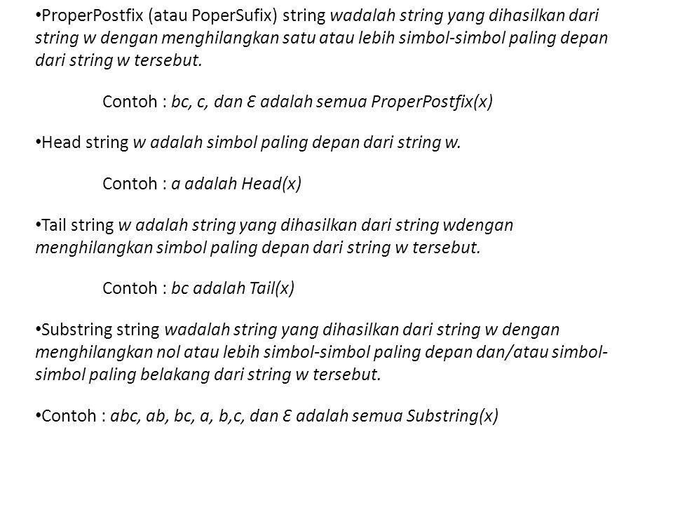 • ProperPostfix (atau PoperSufix) string wadalah string yang dihasilkan dari string w dengan menghilangkan satu atau lebih simbol-simbol paling depan