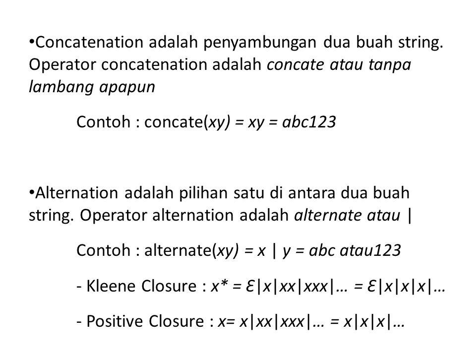 • Concatenation adalah penyambungan dua buah string. Operator concatenation adalah concate atau tanpa lambang apapun Contoh : concate(xy) = xy = abc12