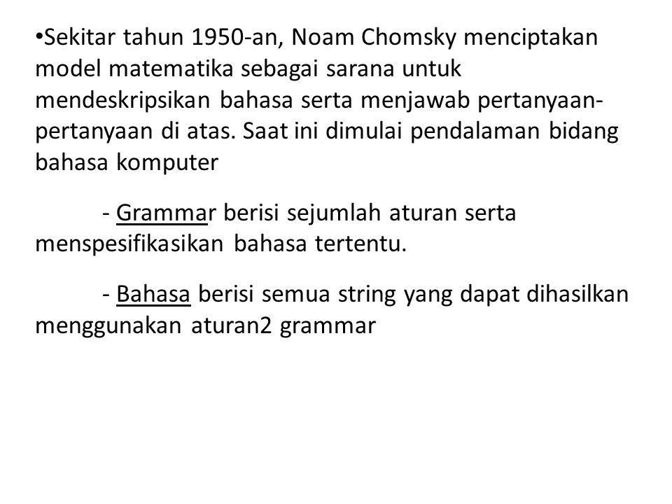 • Sekitar tahun 1950-an, Noam Chomsky menciptakan model matematika sebagai sarana untuk mendeskripsikan bahasa serta menjawab pertanyaan- pertanyaan d