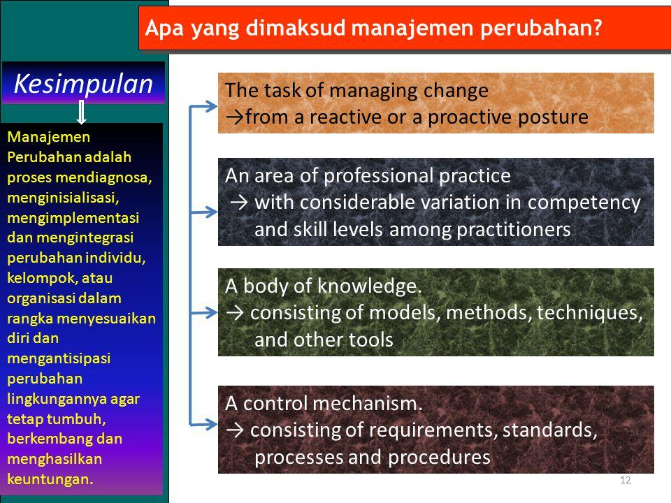 12 Apa yang dimaksud manajemen perubahan.Kesimpulan A control mechanism.