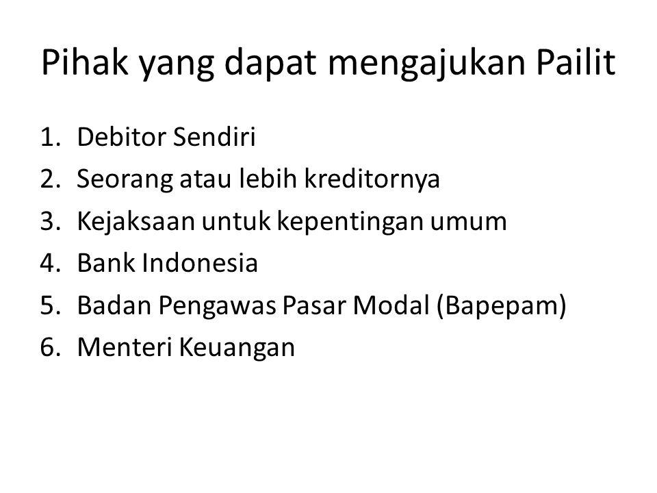 Pihak yang dapat mengajukan Pailit 1.Debitor Sendiri 2.Seorang atau lebih kreditornya 3.Kejaksaan untuk kepentingan umum 4.Bank Indonesia 5.Badan Peng