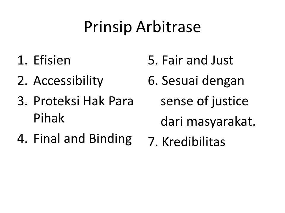Prinsip Arbitrase 1.Efisien 2.Accessibility 3.Proteksi Hak Para Pihak 4.Final and Binding 5. Fair and Just 6. Sesuai dengan sense of justice dari masy