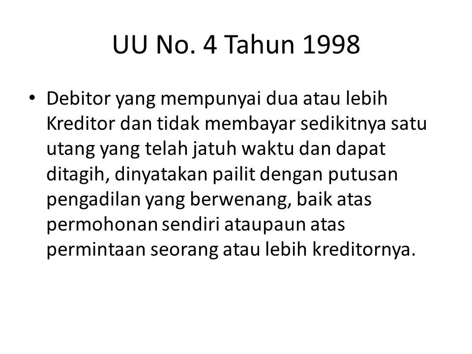 UU No. 4 Tahun 1998 • Debitor yang mempunyai dua atau lebih Kreditor dan tidak membayar sedikitnya satu utang yang telah jatuh waktu dan dapat ditagih