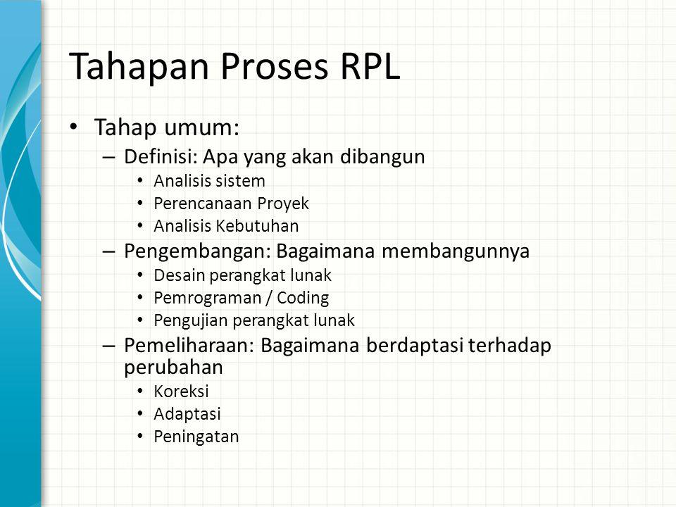 Tahapan Proses RPL • Tahap umum: – Definisi: Apa yang akan dibangun • Analisis sistem • Perencanaan Proyek • Analisis Kebutuhan – Pengembangan: Bagaim