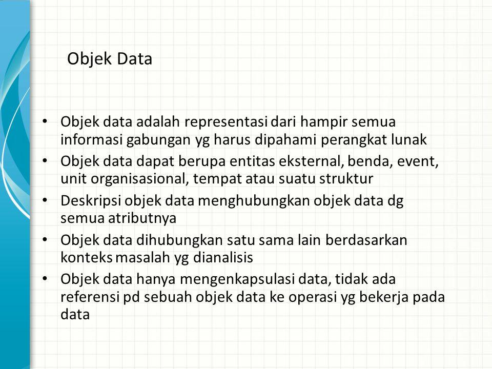 Objek Data • Objek data adalah representasi dari hampir semua informasi gabungan yg harus dipahami perangkat lunak • Objek data dapat berupa entitas e