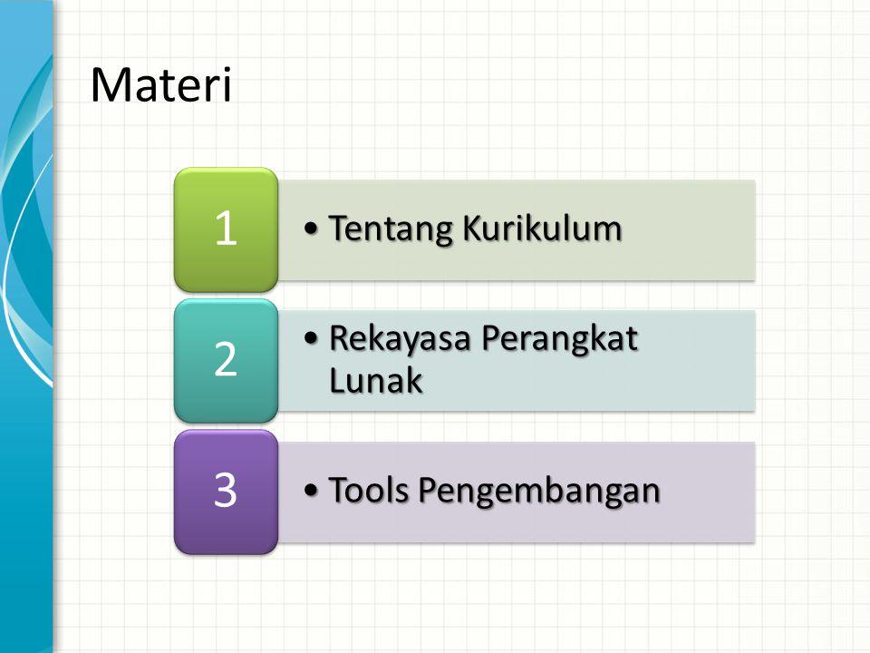 •Tentang Kurikulum 1 •Rekayasa Perangkat Lunak 2 •Tools Pengembangan 3 Materi