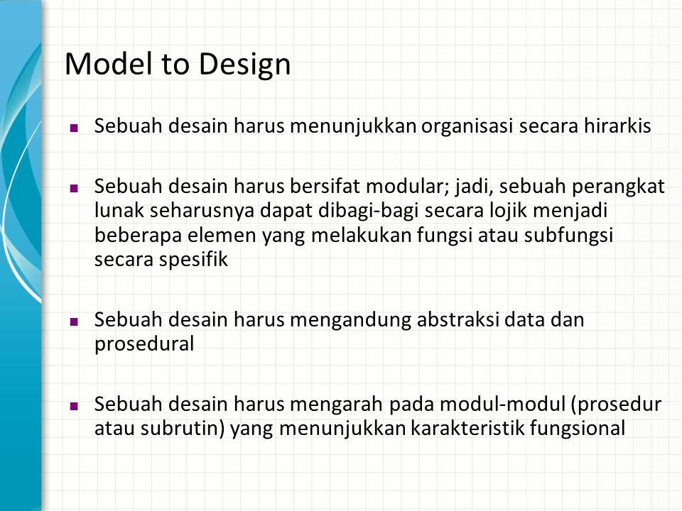 Model to Design  Sebuah desain harus menunjukkan organisasi secara hirarkis  Sebuah desain harus bersifat modular; jadi, sebuah perangkat lunak seha