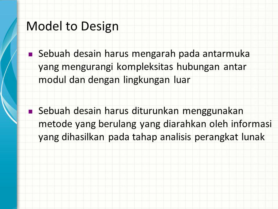 Model to Design  Sebuah desain harus mengarah pada antarmuka yang mengurangi kompleksitas hubungan antar modul dan dengan lingkungan luar  Sebuah de