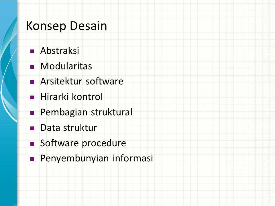 Konsep Desain  Abstraksi  Modularitas  Arsitektur software  Hirarki kontrol  Pembagian struktural  Data struktur  Software procedure  Penyembu