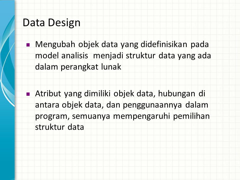 Data Design  Mengubah objek data yang didefinisikan pada model analisis menjadi struktur data yang ada dalam perangkat lunak  Atribut yang dimiliki