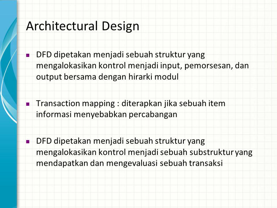 Architectural Design  DFD dipetakan menjadi sebuah struktur yang mengalokasikan kontrol menjadi input, pemorsesan, dan output bersama dengan hirarki