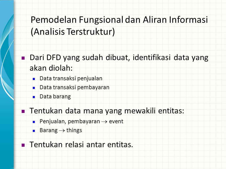 Pemodelan Fungsional dan Aliran Informasi (Analisis Terstruktur)  Dari DFD yang sudah dibuat, identifikasi data yang akan diolah:  Data transaksi pe