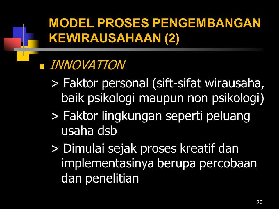 MODEL PROSES PENGEMBANGAN KEWIRAUSAHAAN (2)  INNOVATION > Faktor personal (sift-sifat wirausaha, baik psikologi maupun non psikologi) > Faktor lingku