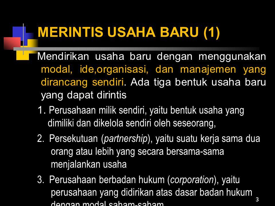 MERINTIS USAHA BARU (2) Pendekatan dalam merintis usaha baru 1.